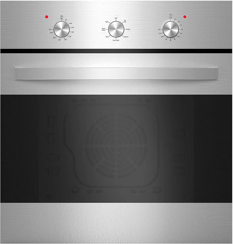 """Empava 24"""" Electric Single Wall Oven with 6 Cooking Functions Mechanical Knobs"""